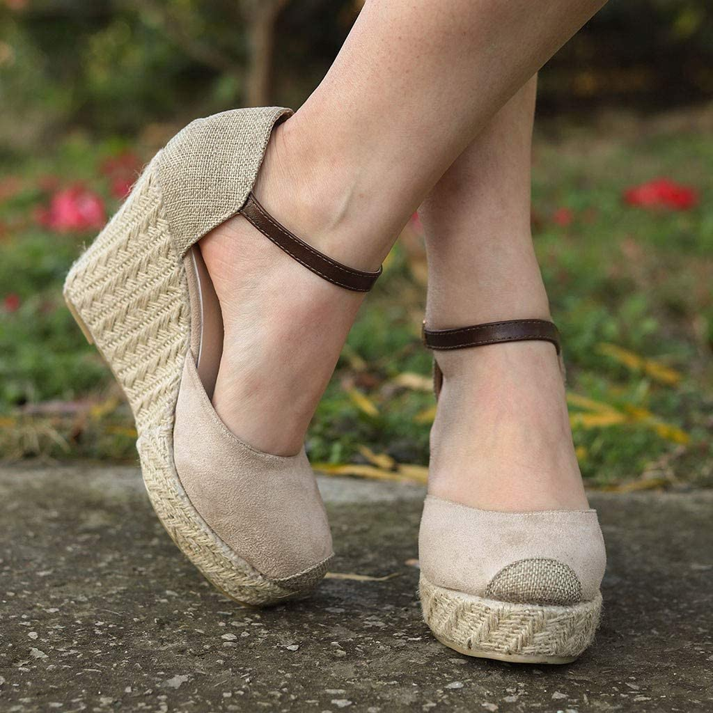 Womens Buckle Band Ankle Strap Round Toe High Ankle Closed Toe Espadrilles Wedges Heel Sandals