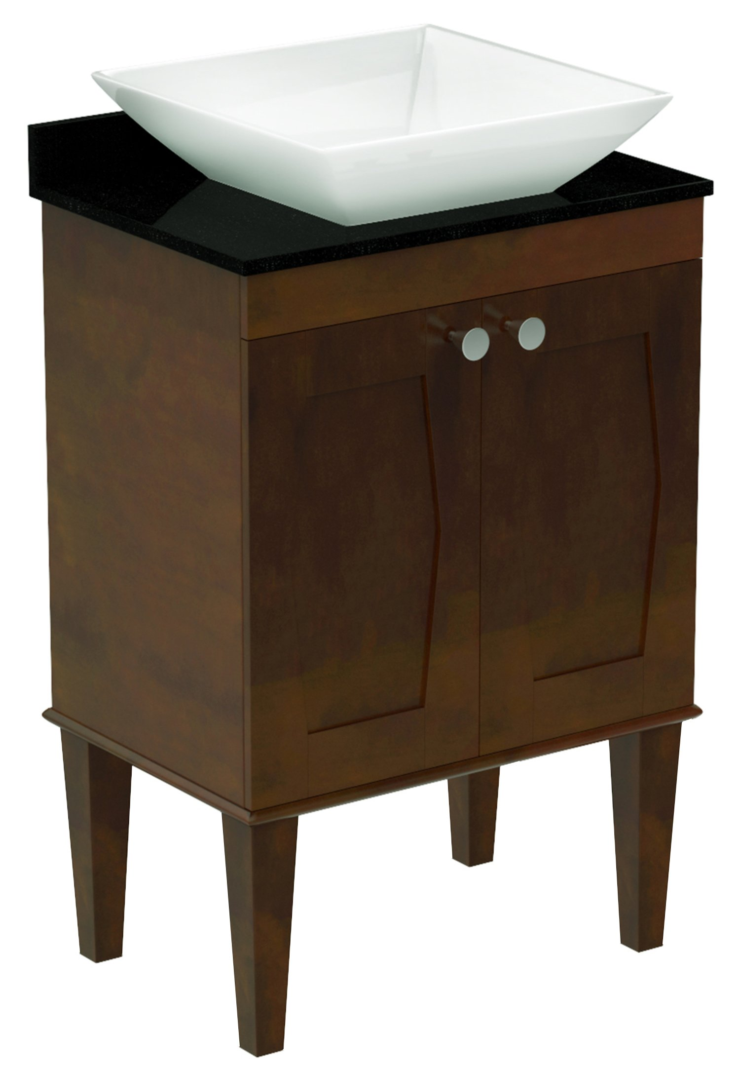 American Imaginations 721   24-Inch W X 18-Inch D Solid Wood Vanity with Soft-Close Doors and Quartz Top with Square Vessel