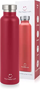 The Happy Lush Red 750 ml Insulated Wine Flask with Lid – Stainless Steel, Double Walled Vacuum Insulated Travel Bottle & Wine Growler for Hot and Cold Beverages