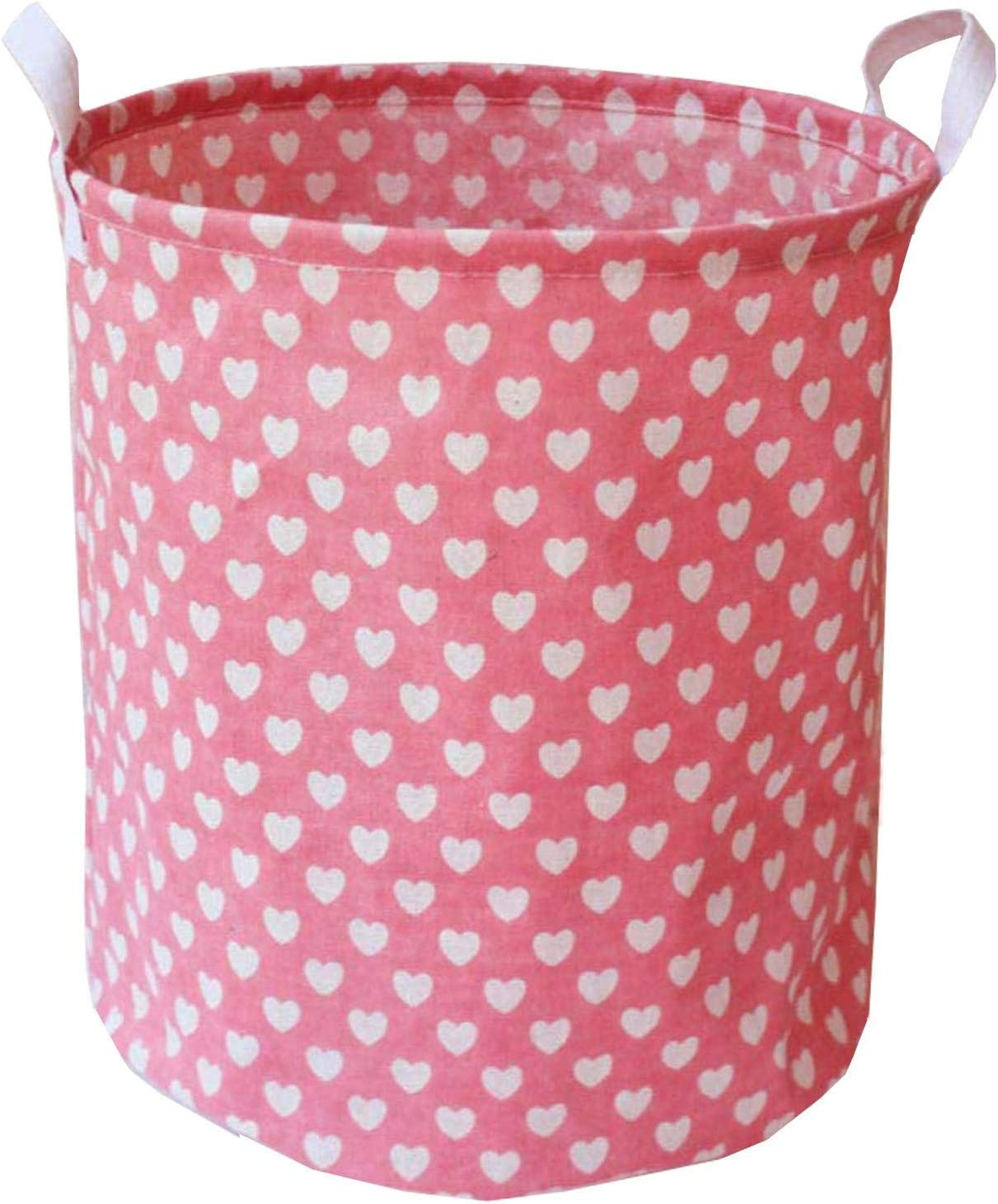 ZUEXT Collapsible Storage Bin with Pink Love Heart 19.7x15.7 Inch, Extra Large Canvas Laundry Hamper, Foldable Clothes Basket for Girls Baby Shower Birthday Gift Basket, Nursery Room Bedroom Toy Bins
