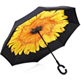 Dopobo Double Layer Inverted Umbrella Cars Reverse Umbrella Extremely Waterproof and Windproof Inverted Umbrella with C-Shaped Handle (C-H)