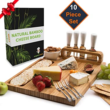 Cheese Board Set, Cheese Tray, Charcuterie Board: includes 4 Cheese Knives with White Ceramic Handles, 4 Stainless Steel Cheese Forks, Plus Ceramic Bowl, Large Size 14  x 11, Ideal Wedding Gifts