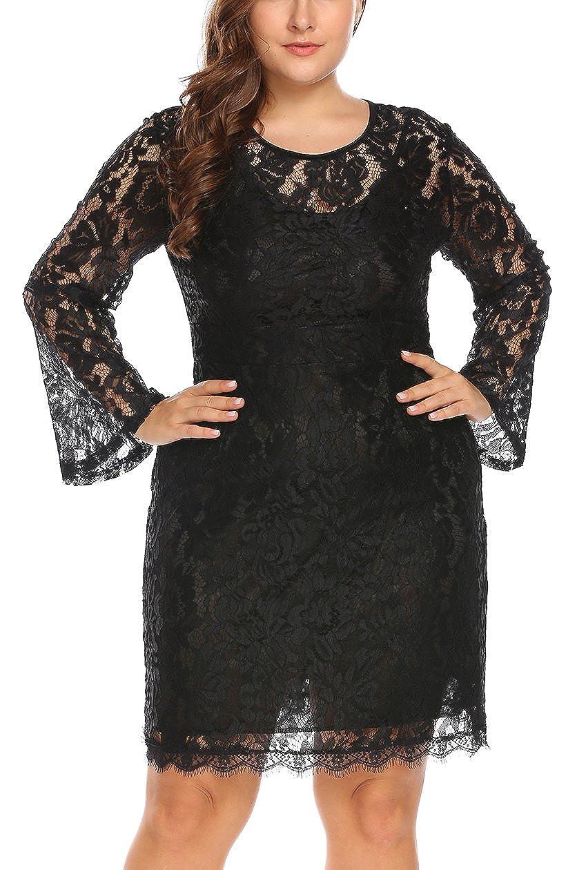 8fef0c4cc4166 Plus Size Black Lace Cocktail Dress - raveitsafe