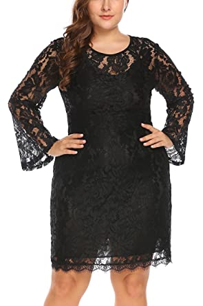 c61a8f4fe26 Image Unavailable. Image not available for. Color  Women s Plus Size  Elegant Flare Long Sleeve Lace Bodycon Cocktail ...