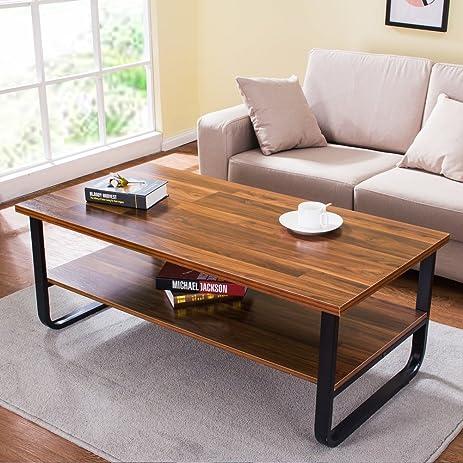 "Amazon.com: Tribesigns Modern 47"" Coffee Table with Lower Storage ..."