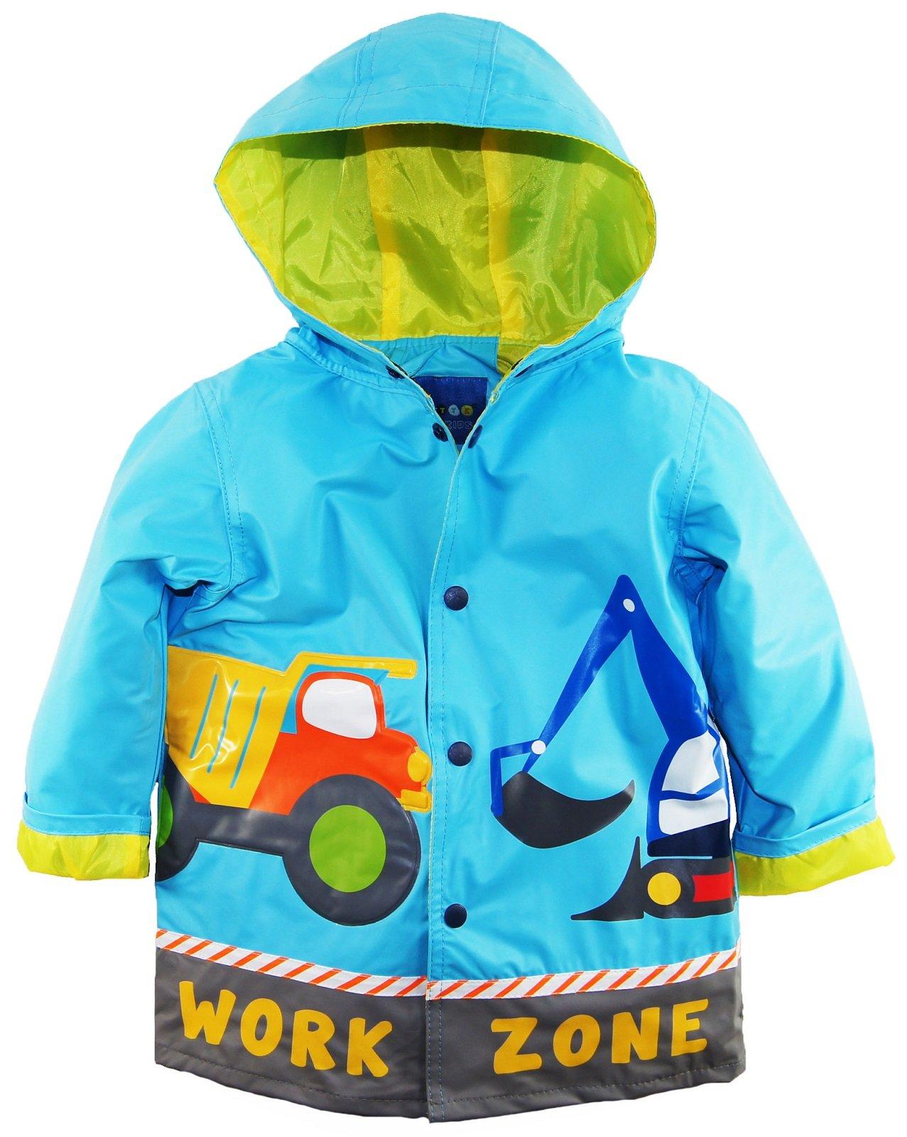 Wippette Little Boys Waterproof Work Zone Construction Trucks Raincoat Jacket, Blue, 5