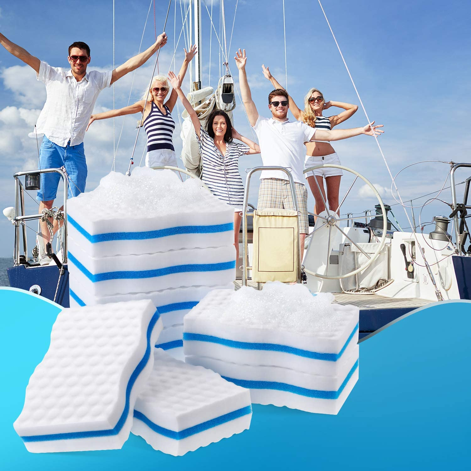 Outus 8 Pack Boat Scuff Erasers Boat Sponge for Cleaning Streak Deck Marks Magic Boating Accessories