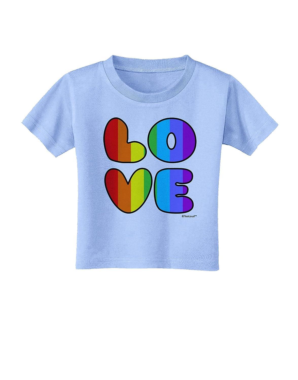 TooLoud Rainbow Love Text Toddler T-Shirt