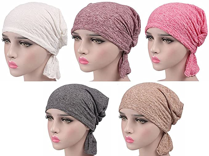 Women Cotton Chemo Cap for Cancer Patients 5 Pack Slouch Beanie ... de96cdd71fe7