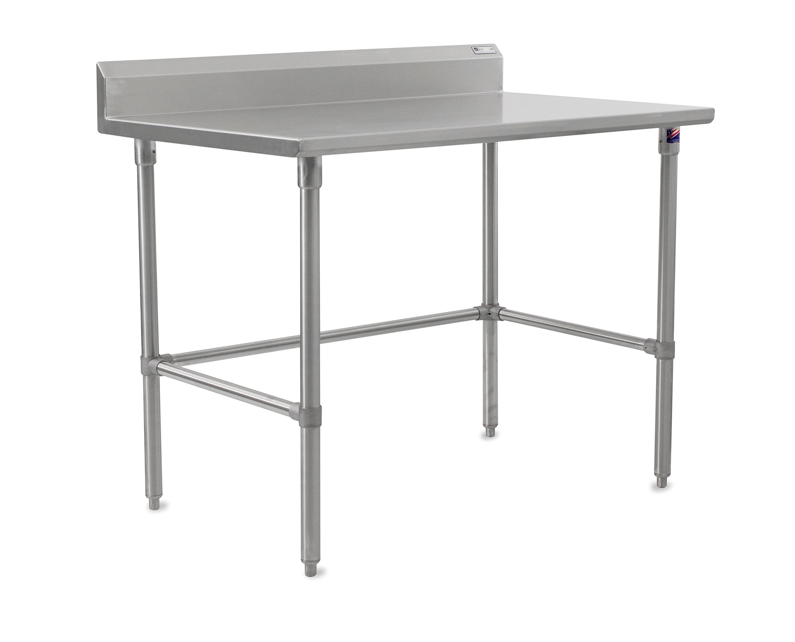 John Boos Stallion ST6R5-3060SBK Stainless Steel 5'' Riser Top Work Table with Adjustable Stainless Steel Legs and Bracing, 60'' Length x 30'' Width