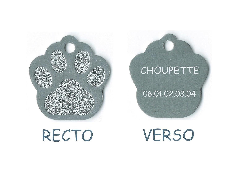 medaille gravee chien ou chat modele petite patte de chat calinette argent Gravure Discount