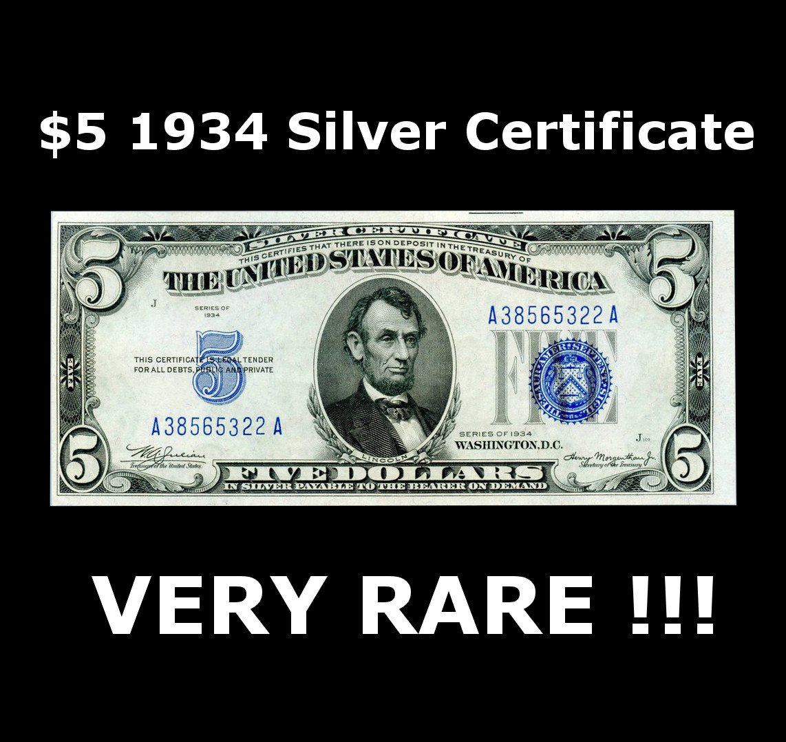 1934 Various Mint Marks Large Blue Seal Silver Certificate Hard To