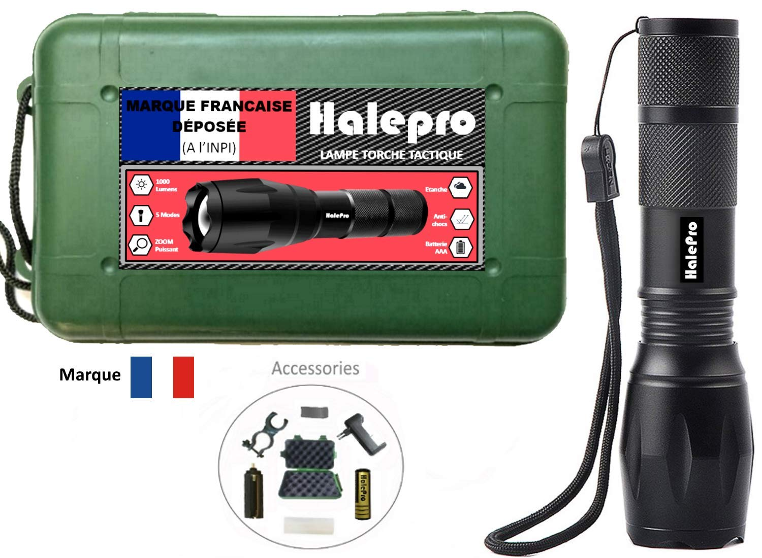 Halepro Lampe Frontale Puissante Lampe Frontale Lampe Torche LED Rechargeable