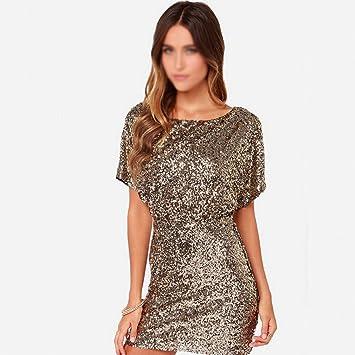 YAN Vestido de mujer Vestido de lentejuelas de las mujeres/Backless de oro atractivos vestidos