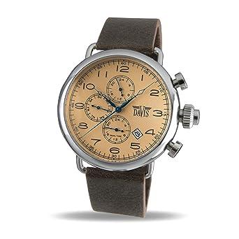 36ba608ef868 Davis 1932 - Reloj Piloto Hombre Retro Esfera Bronce Dia y Fecha Hora Dual  Correa de Piel Marrón  Amazon.es  Relojes