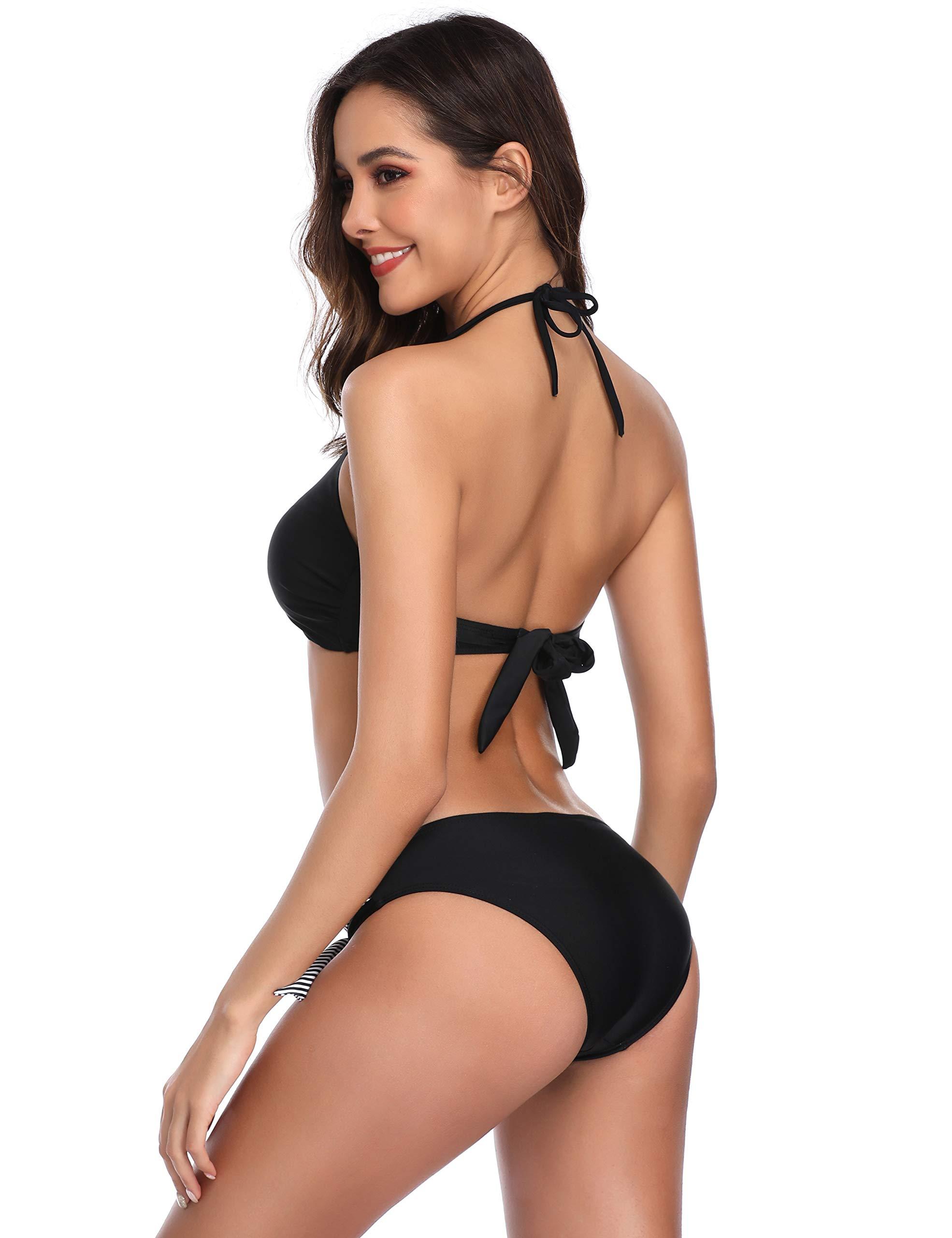 MarinaVida Women Bikini Set Sexy Hanging Neck 2 Piece Bikini Sets Swimsuits Low Waisted Bottom Bathing Suit