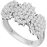 1.05 Carat (ctw) 10K Gold Round Cut White Diamond Ladies Flower Right Hand Ring 1 CT