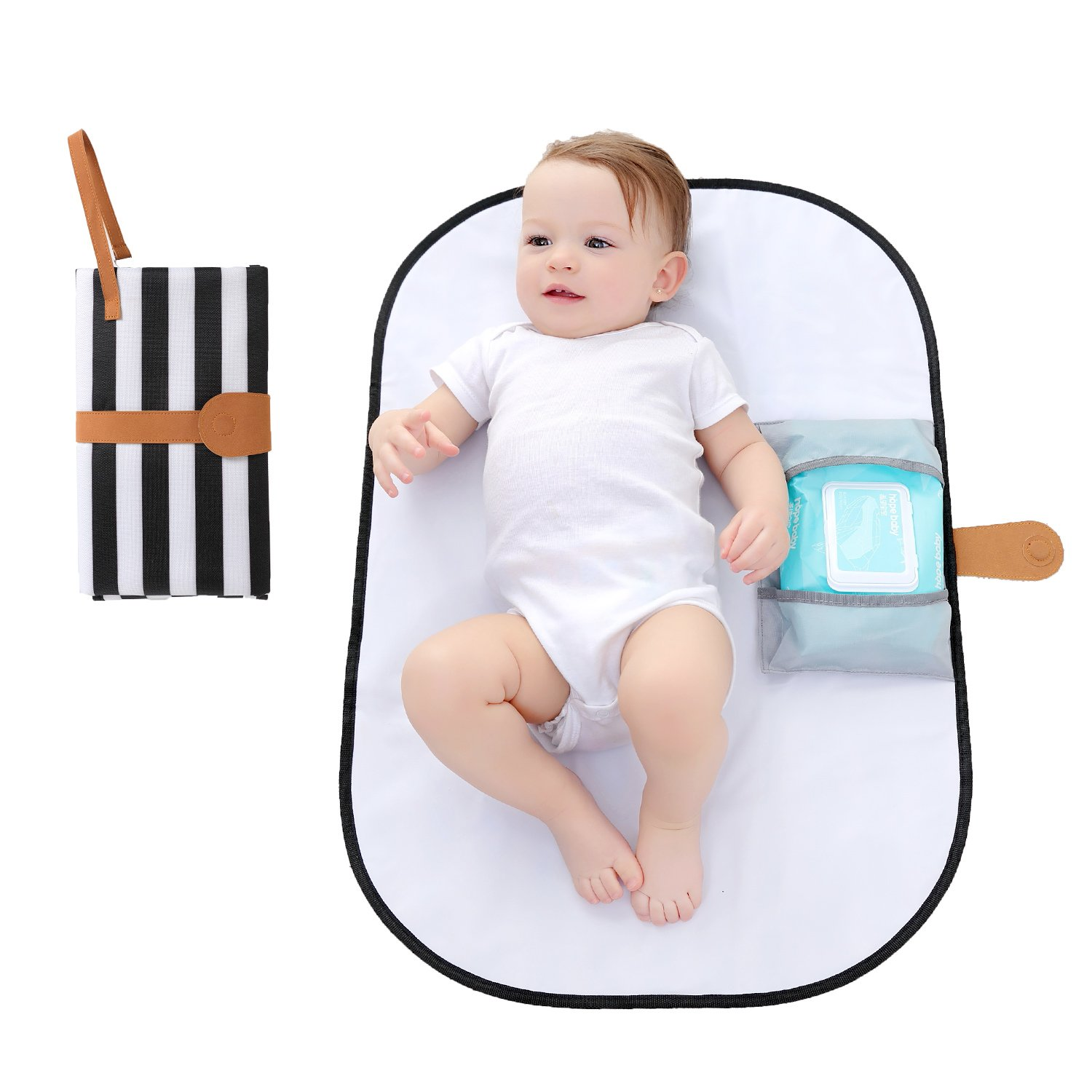 Dreamsoule Portable Diaper Changing Pad Foldable Multi-use Waterproof Diaper Mat Change Diaper Clutch in Any Places for Home/Outdoor/Travel - Black and White Stripes
