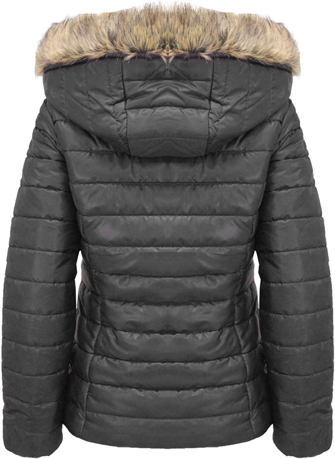 Kids Shiny Wet Look School Belted Short Quilted Hooded Jacket Coat