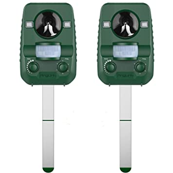 AngLink 2 x Repelente de Gatos, Repelente Ultrasónico para Animales, para Exterior, Resistente