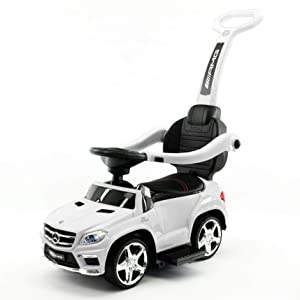 Moderno Kids Mercedes GL63 AMG Baby Toddler Ride-On Push Car Stroller Convertible to Foot to Floor Toy + Padded PU Leather Seat + Integrated MP3 Music Player + Working LED Lights (White)
