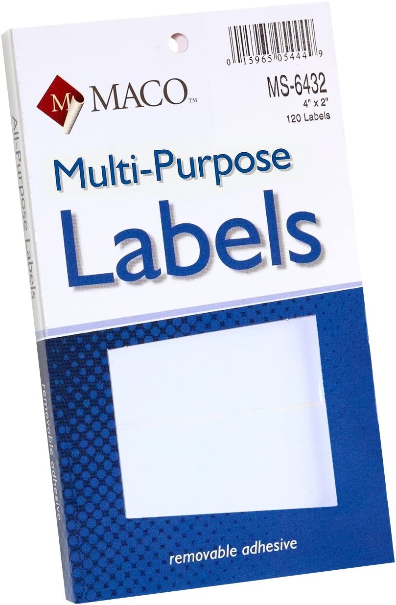 MACO White Rectangular Multi-Purpose Labels, 4 x 2 Inches, 120 Per Box (MS-6432) : Office Products