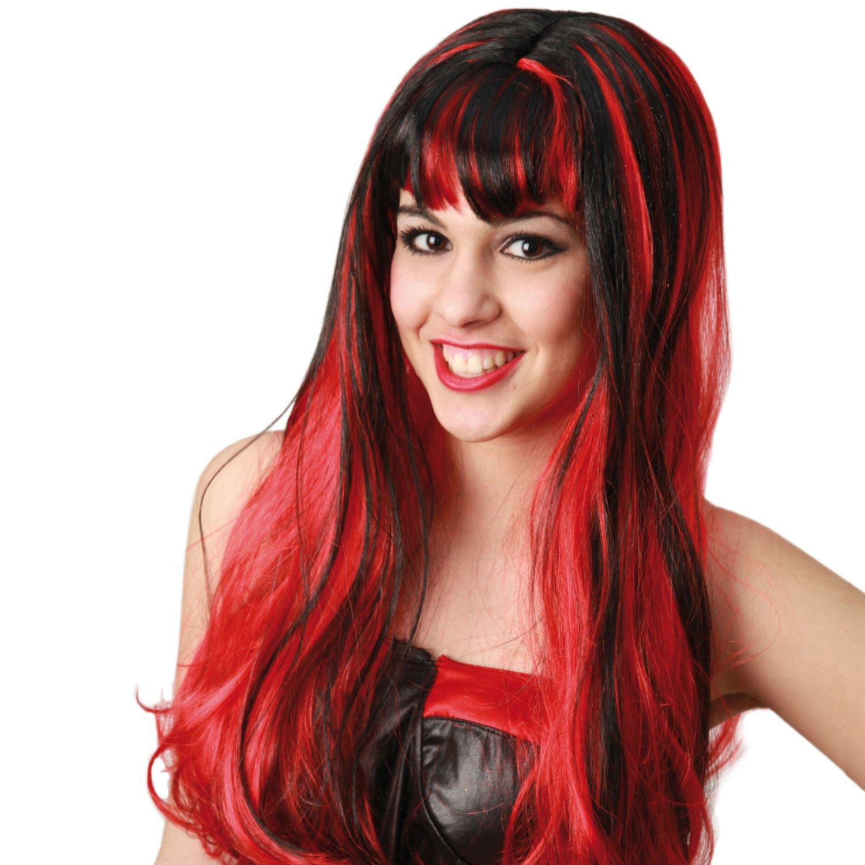 Teufelsperücke rot für Damen Halloween Karneval Fasching Locken  Langhaar Teufel