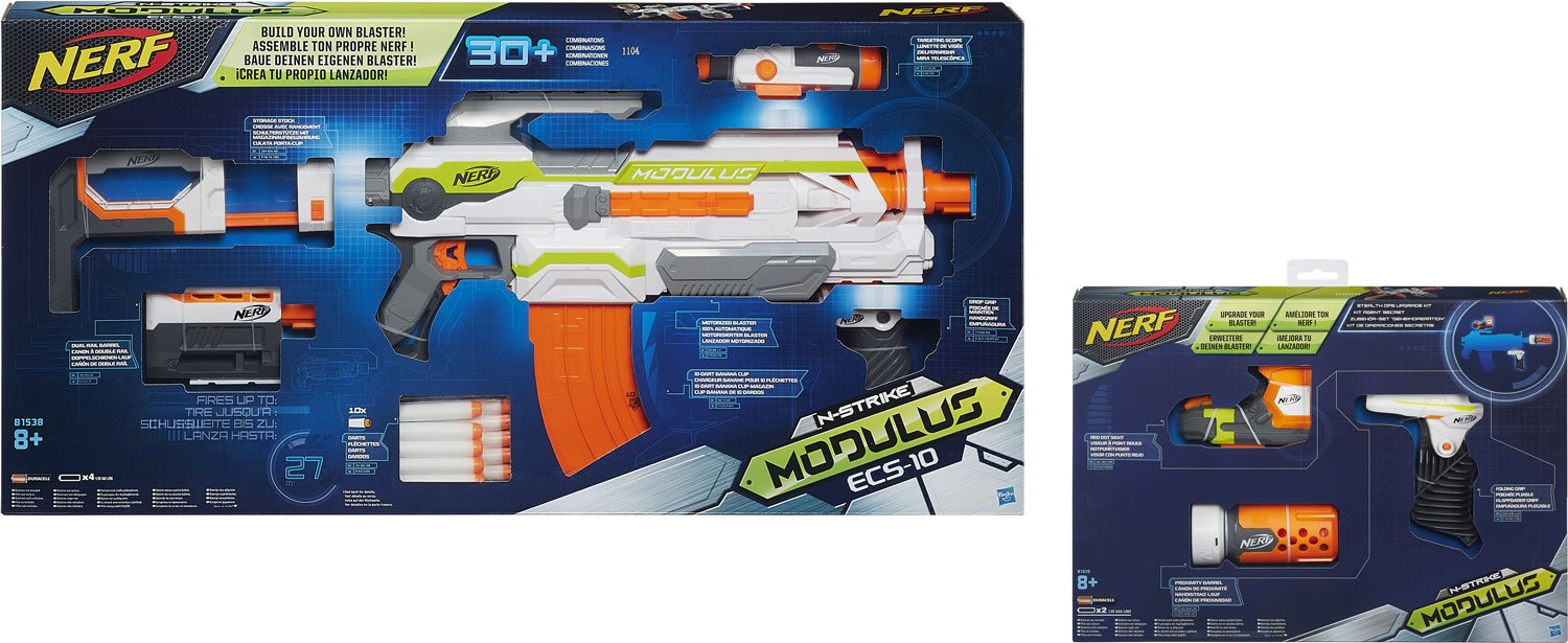 Nerf N-Strike Elite Modulus Ninja Kit: ECS-10 Blaster + Stealth Kit mit Red Dot