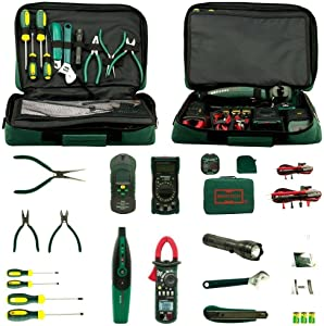 Aidetek Electrician Kit Mastech Ms5902 Ms8233b Ms2008a Ms6906 Clamp Multimeter Tester + Screwdriver + flashlight + Wrench + 3 pliers + tool bag