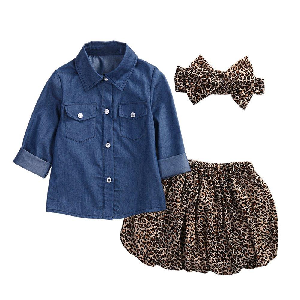 Motteecity Fashion Girls Denim Style Tshirt With Skirt and Headband Bonus