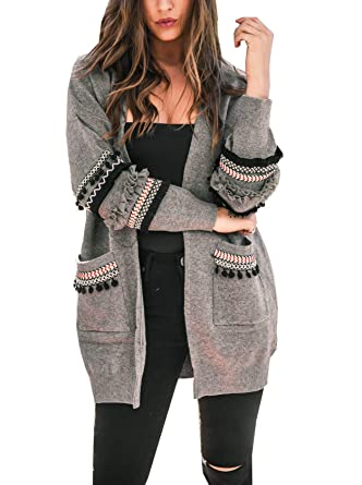 d27f997713 BTFBM Women Boho Long Sleeve Open Front Knit Cardigan with Pockets Bohemian  Knitted Sweater Outwear Coat