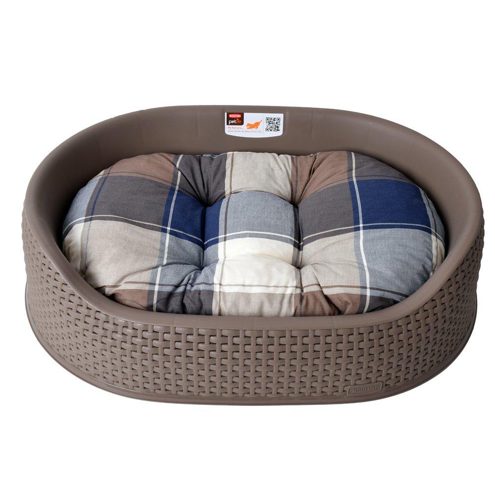 Curver Petlife Colchón para animales Cuna para perro con almohada en Efecto Visual De Mimbre 61 cm marrón: Amazon.es: Hogar