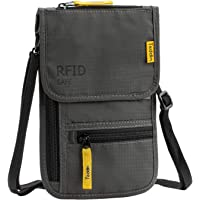 RFID Blocking Stash Neck Wallet, Travel Pouch Passport Holder for Women & Men
