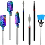 MelodySusie Ceramic Tungsten Carbide Diamond Nail Drill Bits Set 7pcs, Professional Acrylic Nail File Drill Bit, Nail Art Too