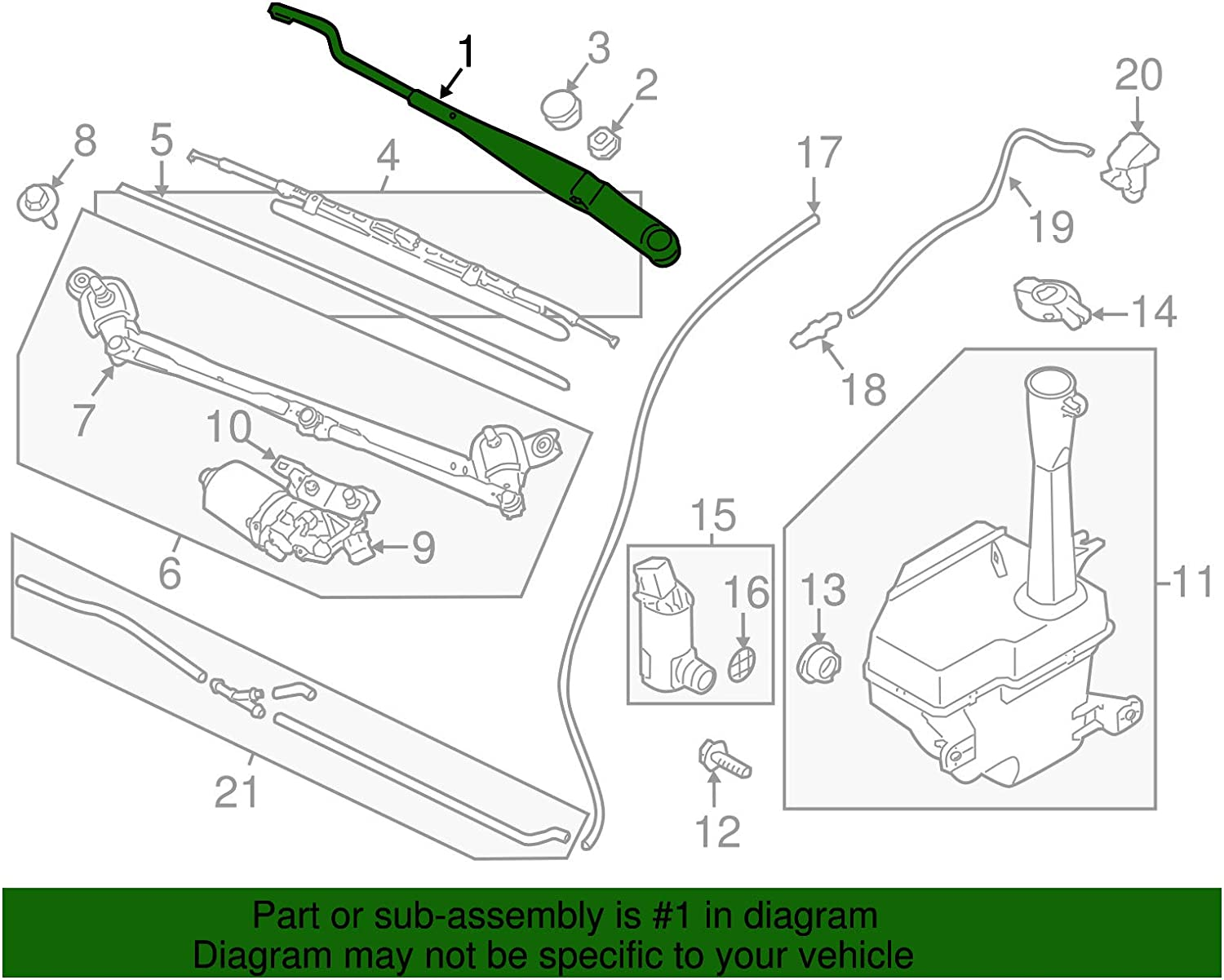 Replacement Parts Kia 98320-1F000 Windshield Wiper Arm Wipers