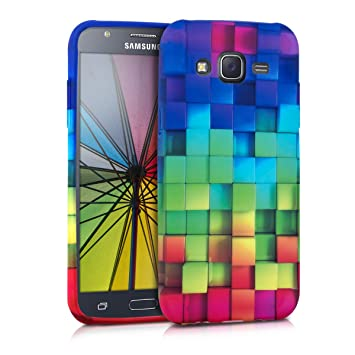 kwmobile Funda para Samsung Galaxy J5 (2015) - Carcasa de [TPU] para móvil y diseño de Cubos de Colores Verde/Azul