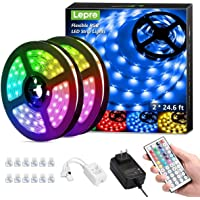 Lepro LED Strip Lights Kit, 50ft Ultra-Long RGB LED Light Strips, Dimmable Color Changing Light Strip with Remote…