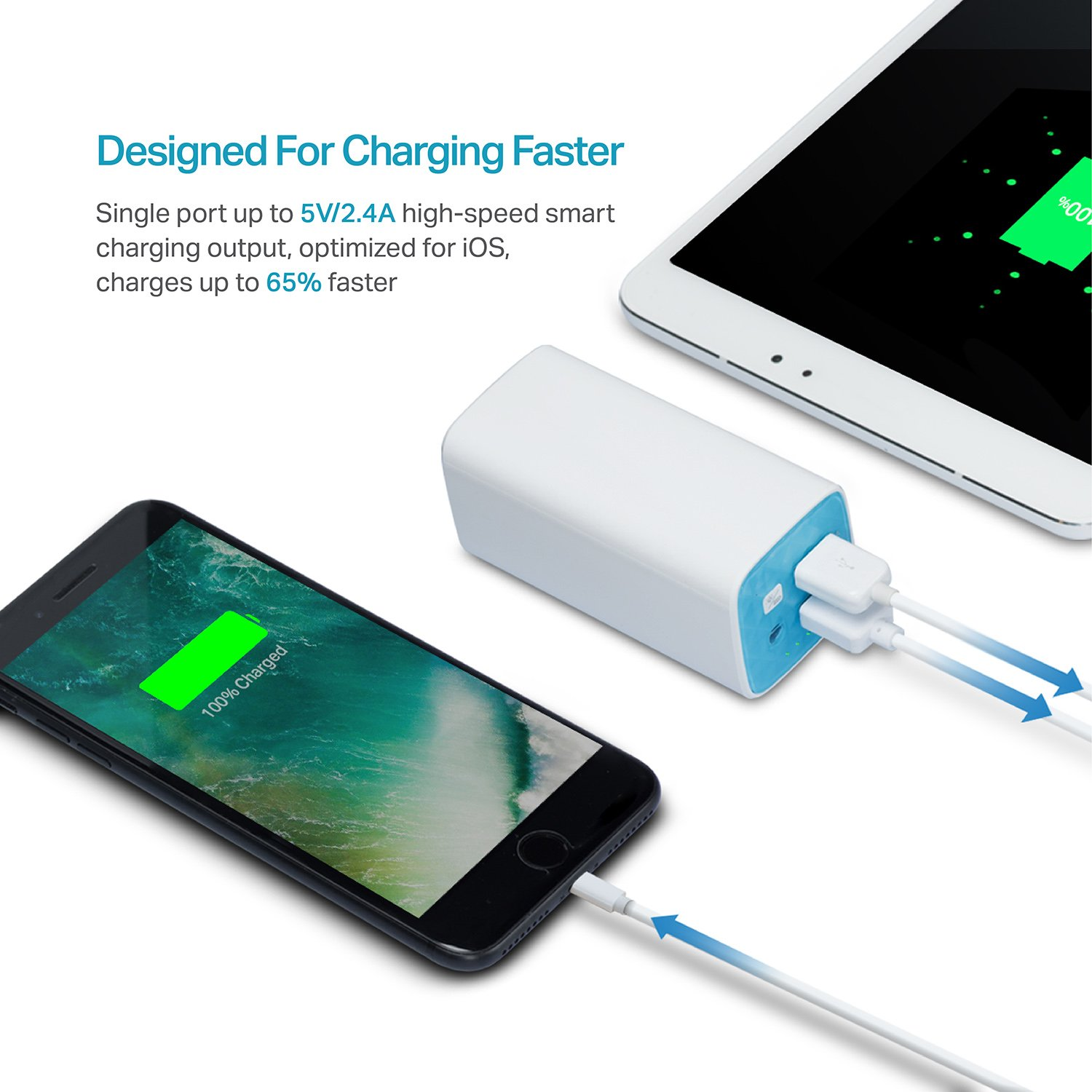 Tp Link 10400mah Fast Charge Power Bank Dual Usb Mobile Phone And Ipod Battery Charger Circuit Diagram Universal Outputs Portable Ultra Compact External Pack With Lg Li Ion