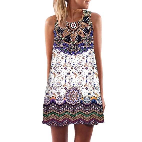 ALIKEEY Vintage boho Playa sin mangas de verano Lady Minivestido corto estampado floral vestidos mujer casual: Amazon.es: Ropa y accesorios