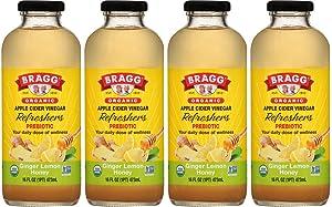 Bragg Apple Cider Vinegar, Ginger Lemon Honey, 16 fl oz (Pack of 4)
