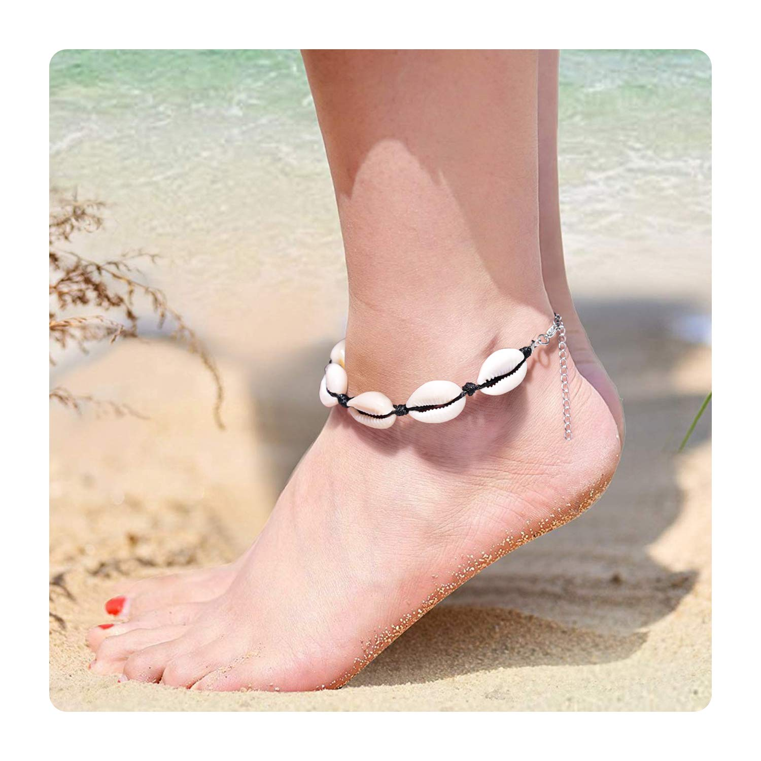Esberry Boho Anklets with Beach Beaded Shell Anklet Charm Wax Rope Infinite Foot Chains Handmade Jewelry for Women and Girls (A.Shell)