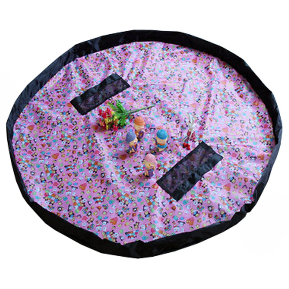 Baby Kids Play Floor Mat Toy Storage Bag Quickly Easily Folds Up,Pink Animals