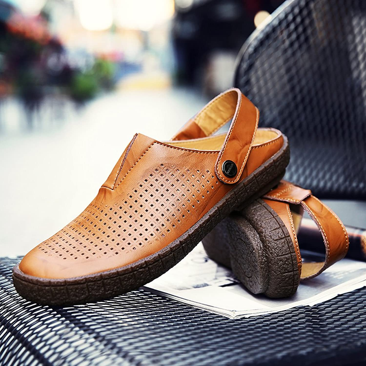 Clogs Mules Shoes Summer Men Garden Sports Leather Sandals Cowhide Dual use  Fashion Hole Casual Fisherman Beach Strap Hiking: Amazon.co.uk: Shoes & Bags