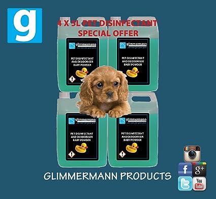 glimmermann Pet Caseta desinfectante y limpiador de ambientador para Baby Powder – 4 x 5L