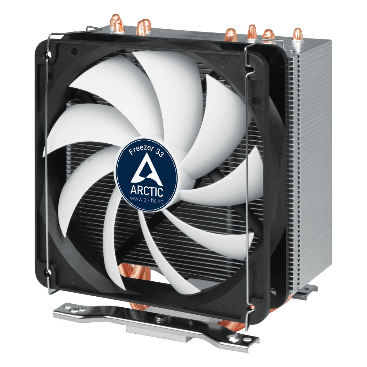 Arctic Freezer 33 - Semi Passive Tower CPU Cooler for Intel 115X/2011-3 and AMD AM4 with 120 mm PWM Fan, Silent High Performance Cooler Up to 150W TDP - Grey/Black by ARCTIC