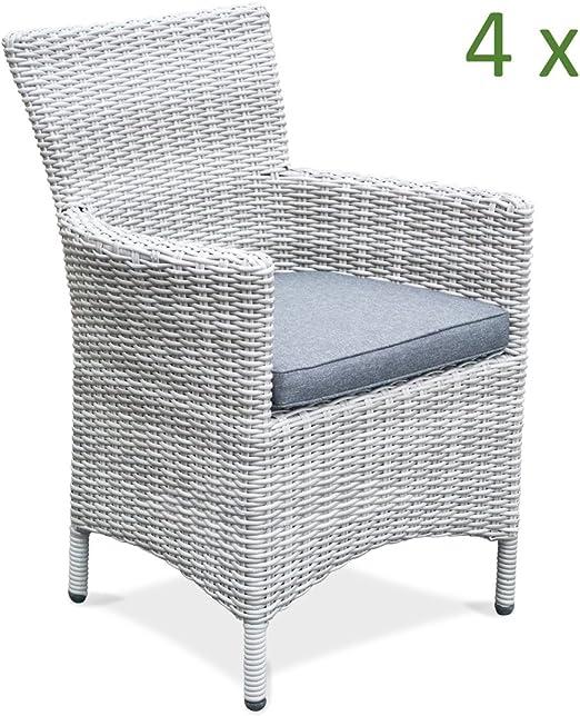 4 x Alta Calidad silla de jardín ratán gris estructura de aluminio reposabrazos silla silla Jardín de Ratán Set de muebles de jardín: Amazon.es: Jardín