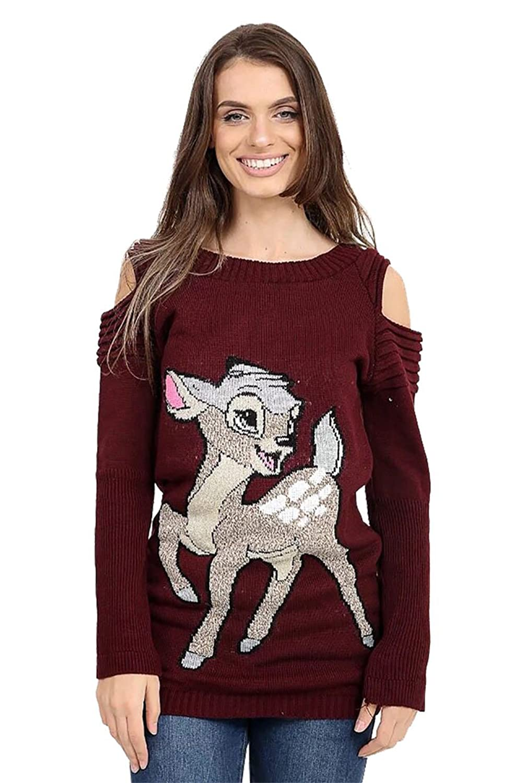 f5c4ba3926d8 Thever Women Ladies Christmas Xmas Knit Bambi Baby Deer Print Cut ...