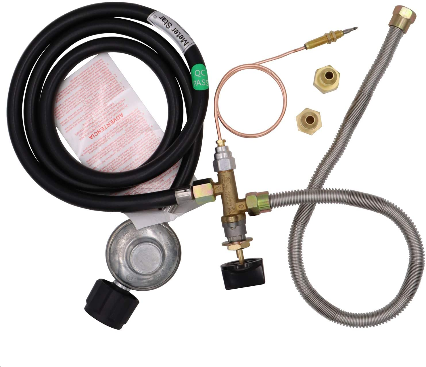 Meter Star CSA Approved Parts Propane Fire Pit/Fireplace Parts Gas Control Valve System Regulator Valve with Hose