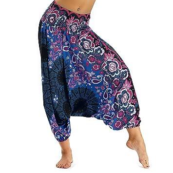 Fansu Pantalones Boho Mujer Verano, Casual Harem Yoga ...