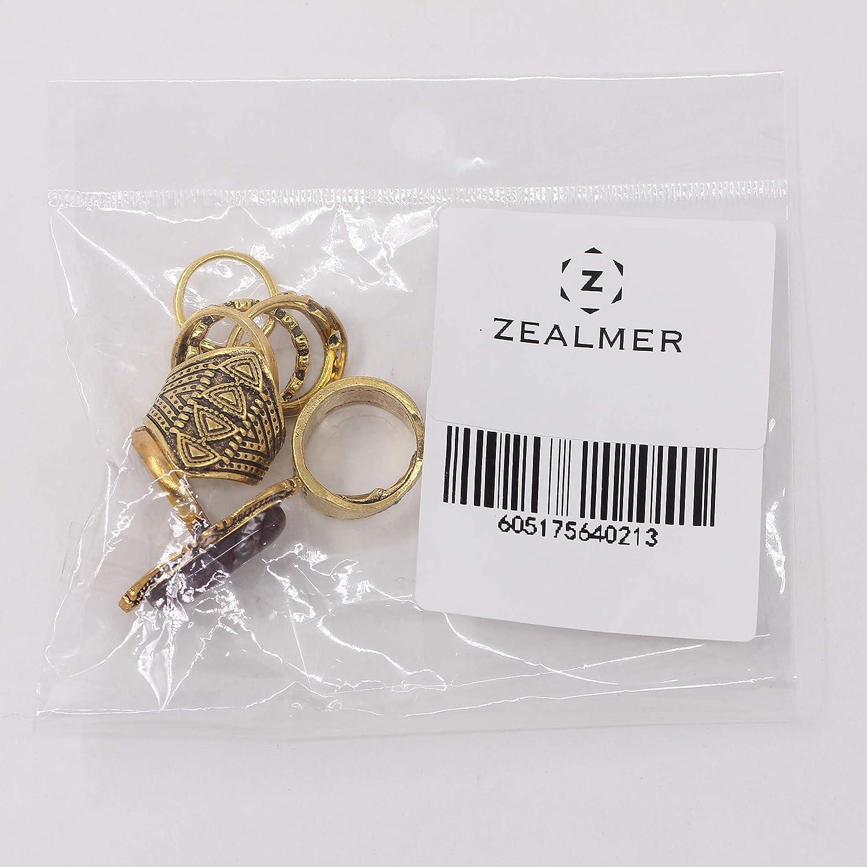 ZEALMER Knuckle Ring Set Vintage Carving Flower Turquoise Arrow Moon Boho Stackable Rings for women Gudukt